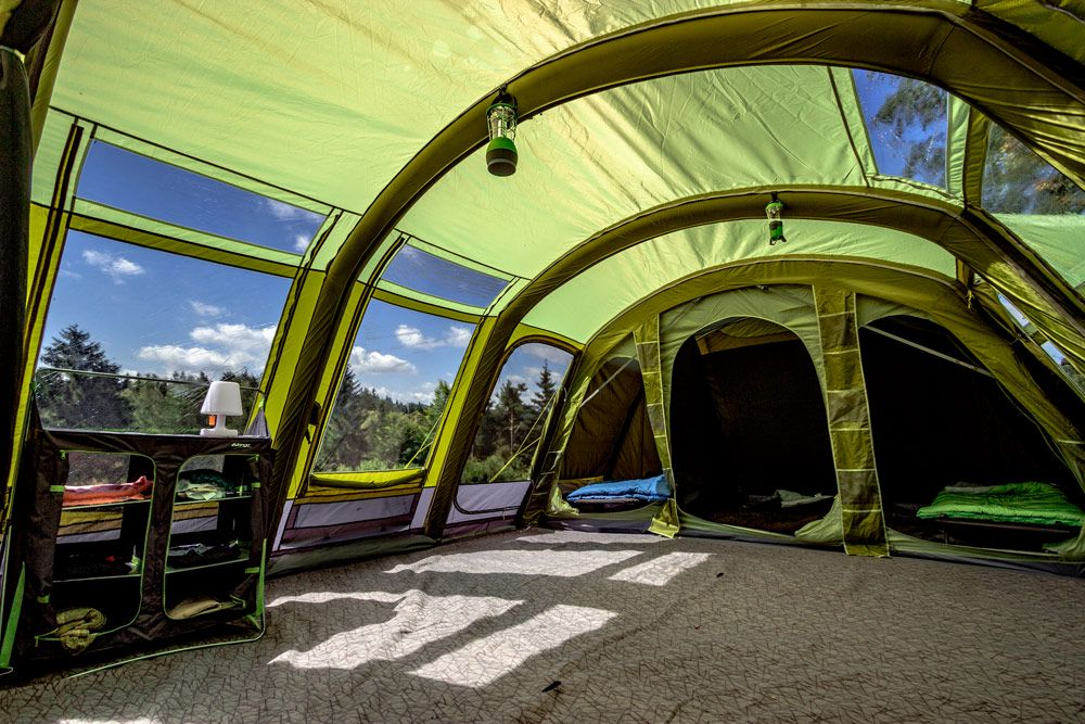 inflatable beams make pitching the tent a speedy process
