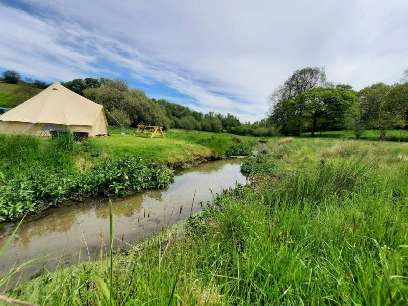 Stream-side pitch in the Water Meadow