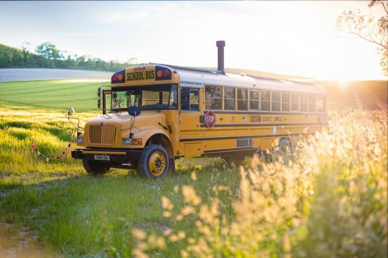Skoolie Stays American school bus