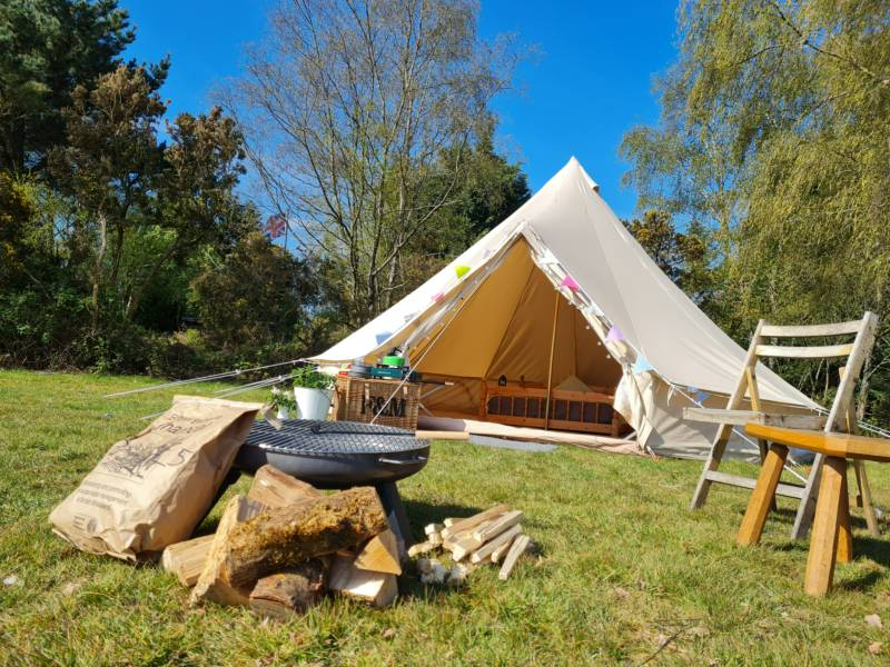 4m Bell Tent in the Adult Field Sleeps max 3