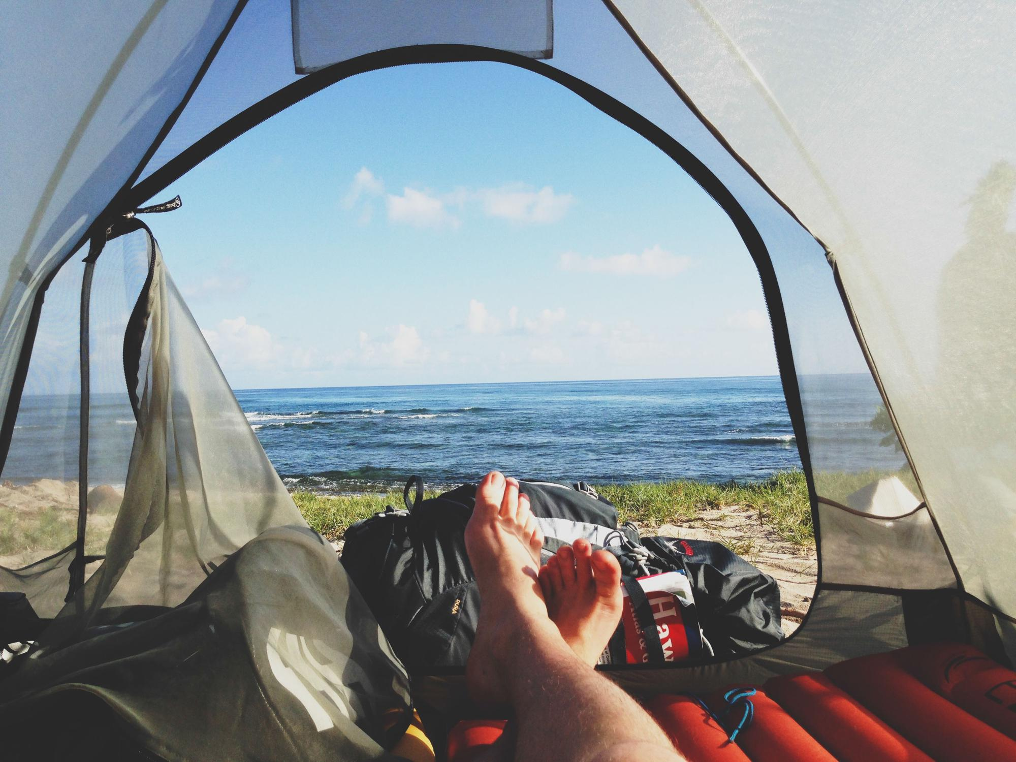 Wild camping by the sea