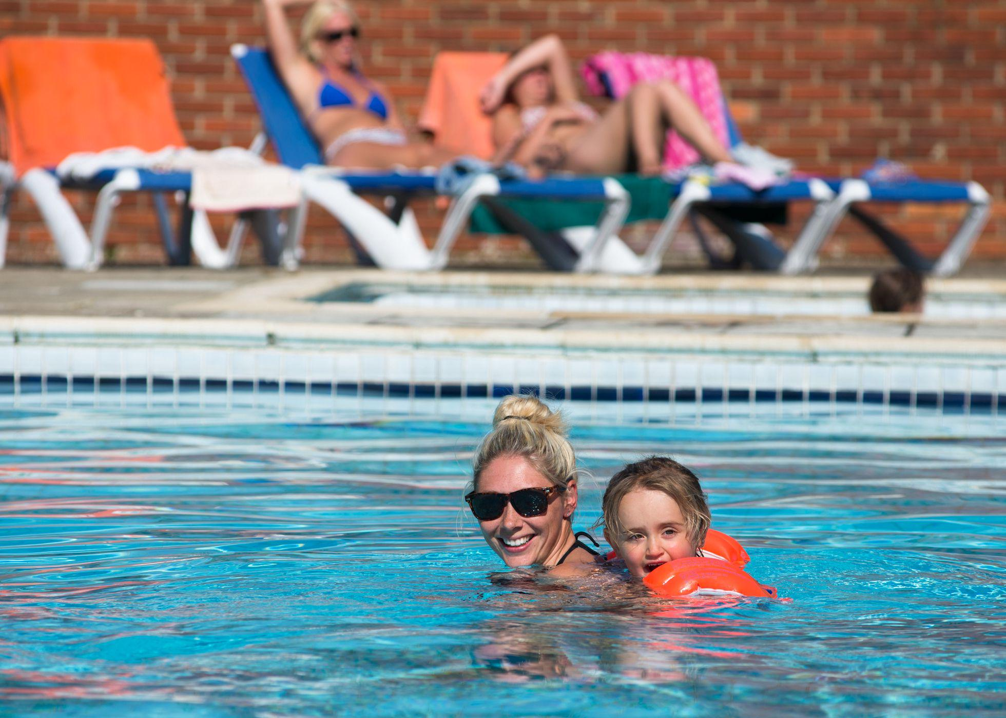 In the swimming pool at Ninham Country Holidays