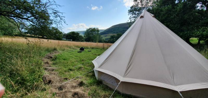 Secluded 5m Bell Tent at top of Hafod Meadow